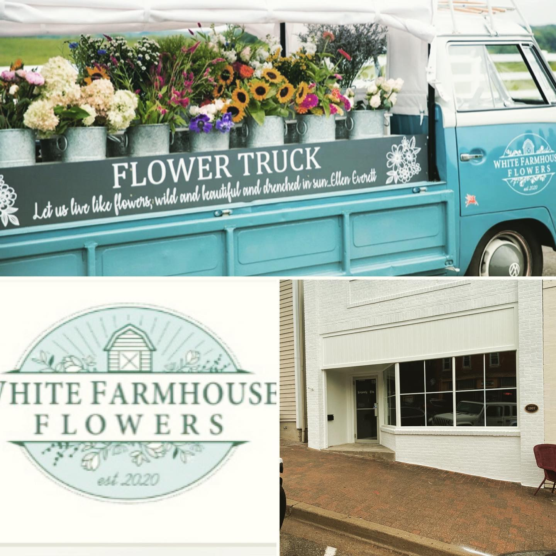 White Farmhouse Flowers Logo